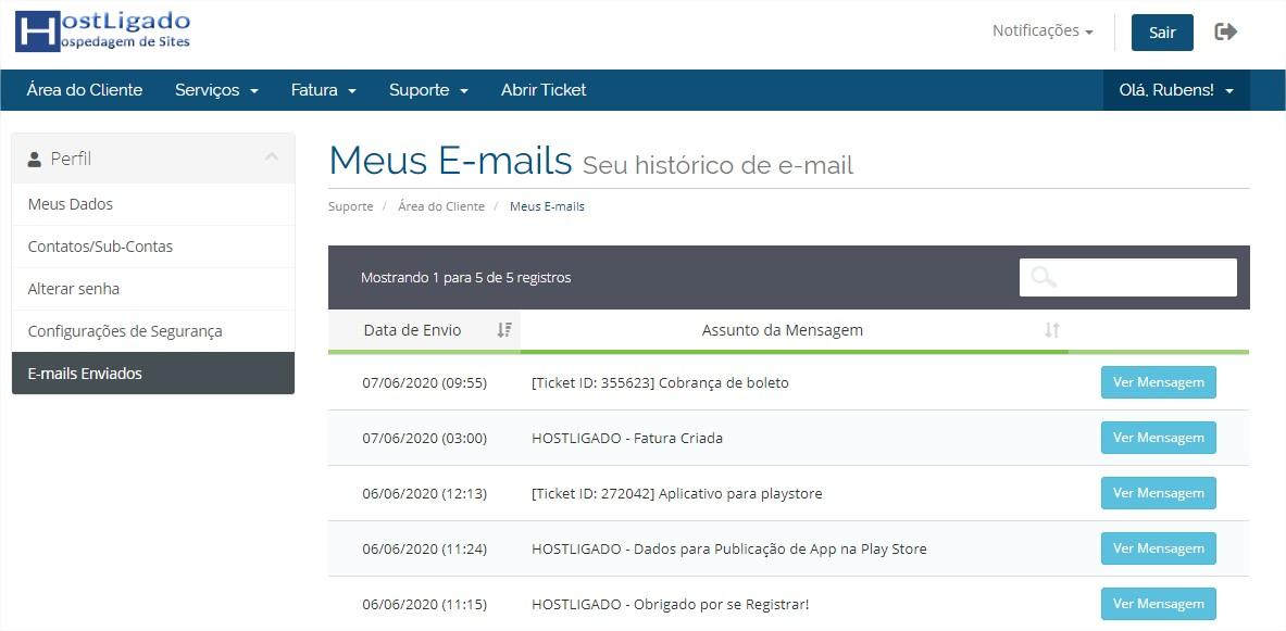 E-mail enviados